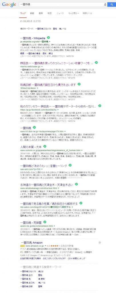 2014年12月17日Googleにて「一霊四魂」で検索した結果